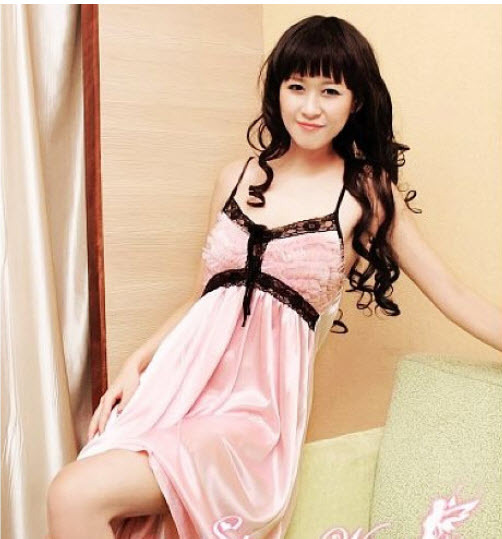 8141 Sexy halter satin dress with lace line , g-string, ,Free size, fit to s/m/l