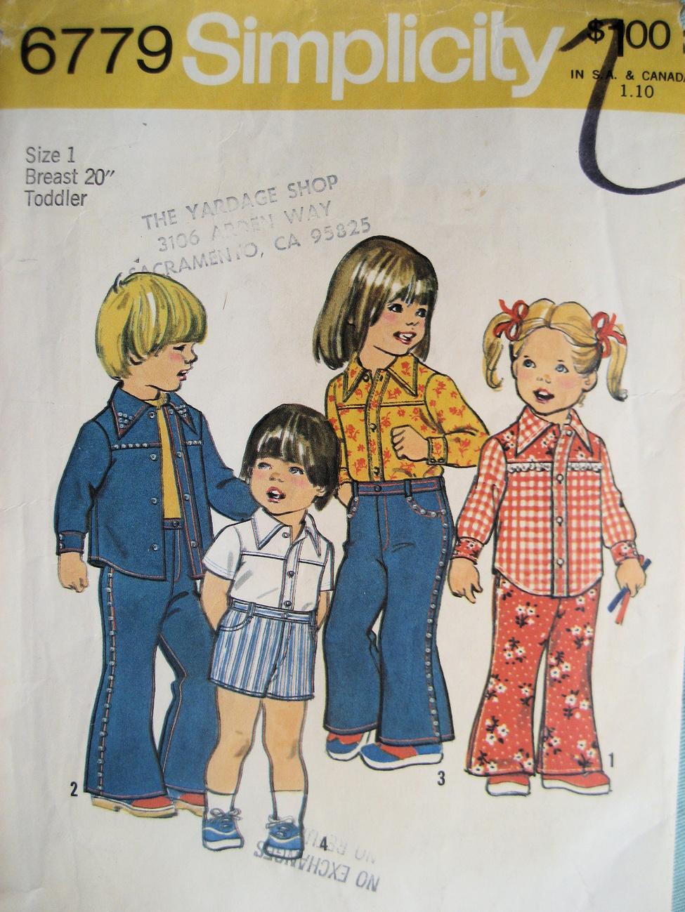 Vintage 70s Pattern Child Size 1 Leisure Suit Shirt S6779 Simplicity New Look