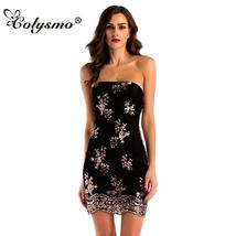 Colysmo Sexy Halter Tied Rope Bag Hip Dress Mini Sequined Embroidered Sl... - $44.99