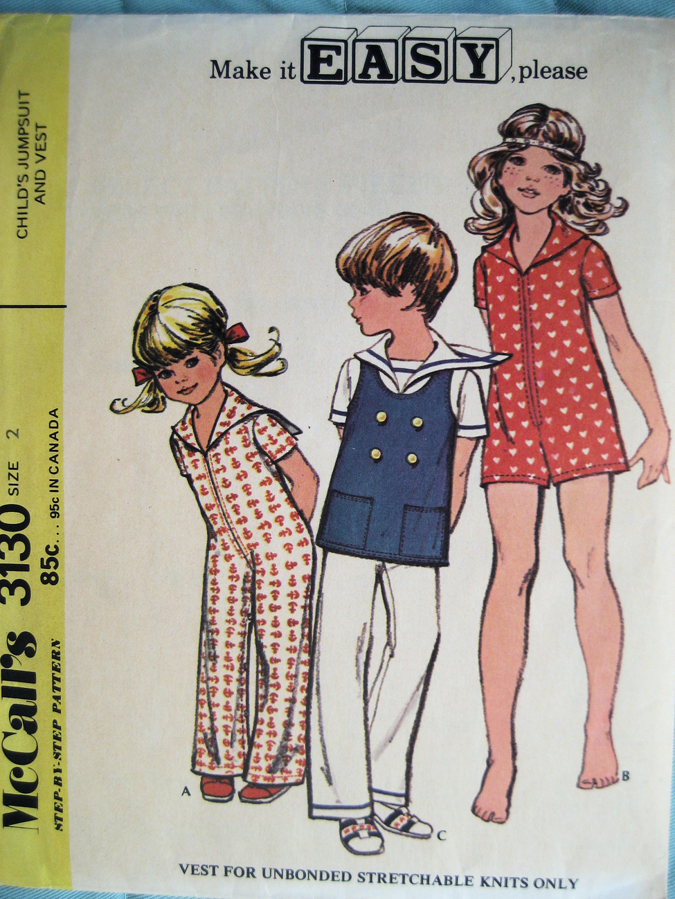 Vintage 70s Pattern Child Size 2 Jump Suit Vest M3130 McCall's
