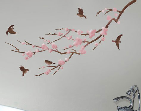 Primary image for Stencil for Walls Sakura and Birds - Reusable stencils better than Wall Decals