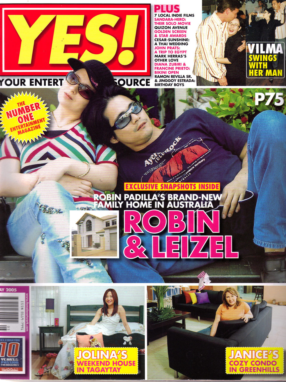 ROBIN PADILLA IN QUEENSLAND WITH LEIZLE @ YES Magazine May 2
