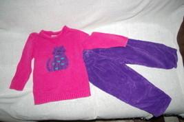 Girls Toddler Sweater with Corduroy Pants Kitty Kitten Size 4T Sonoma - $8.99
