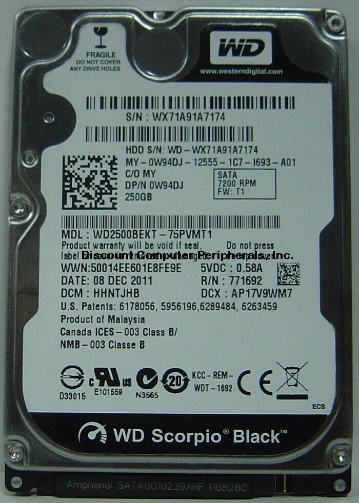 "NEW 250GB SATA 2.5"" 9.5MM Hard Drive WD WD2500BEKT Free USA Shipping"