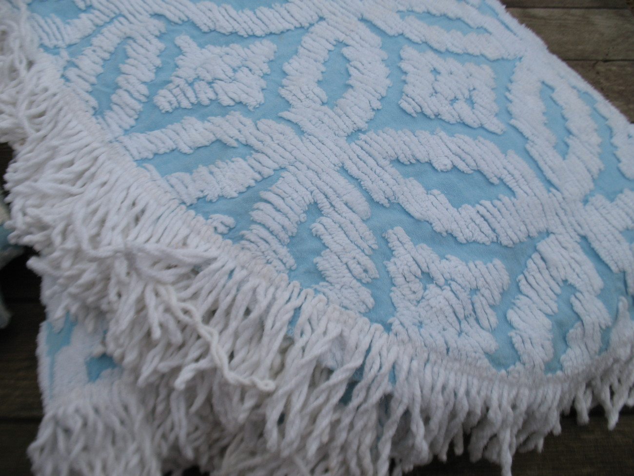 Vintage Blue Cotton Chenille Full Queen Bedspread Matching Long Drapes Curtains Bedspreads