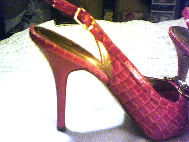 NEW Gorgeous Coral Pink adjustable buckle Stiletto Pump Heels Gold hardware image 5