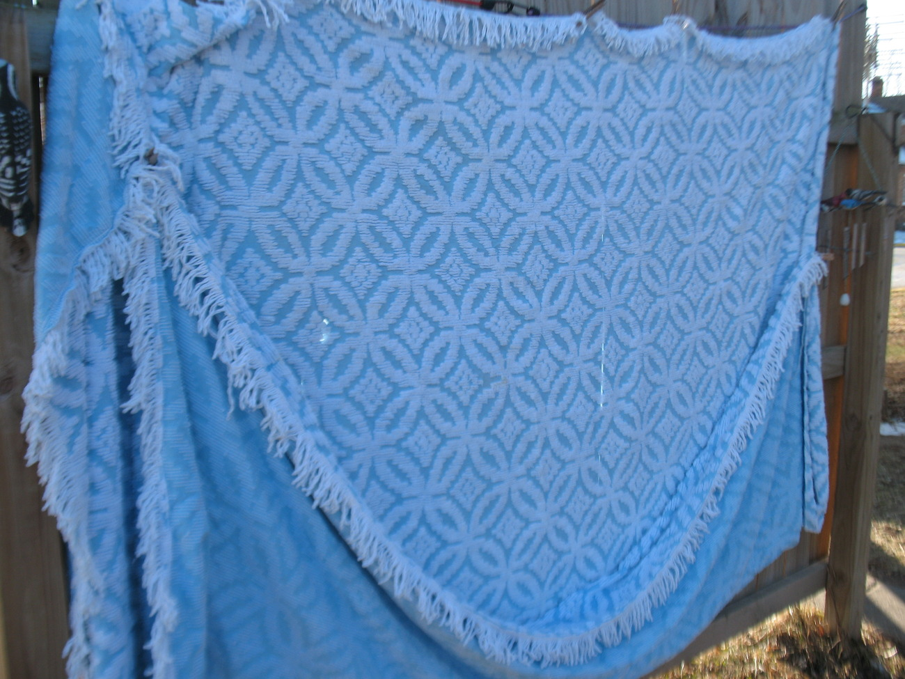 Vintage Blue Cotton Chenille Full Queen Bedspread Matching