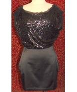NWT BCBGENERATION black sequin top satin mini dress 8 (TC1-02I8G) - $29.68