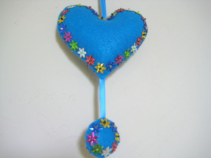 "Heart Decor Felt Ornament stuffed beads both sides 5"" - blue w/ colorful flowers"