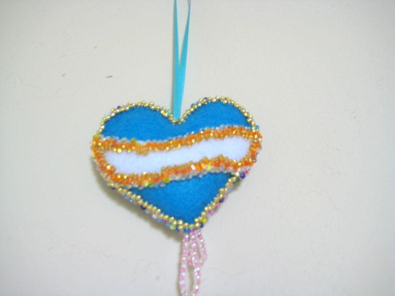 "Heart Decor Ormanemt Felt stuffed beads two sided 3"""