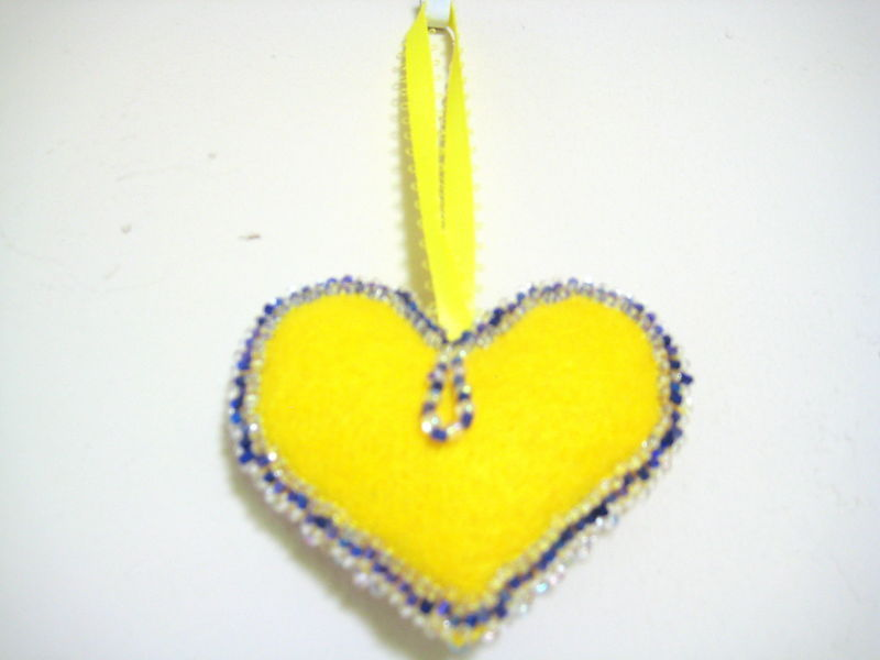"Heart Decor Ornament Felt lot of beads both sides 3"" Set of 2  yellow blue Decor"