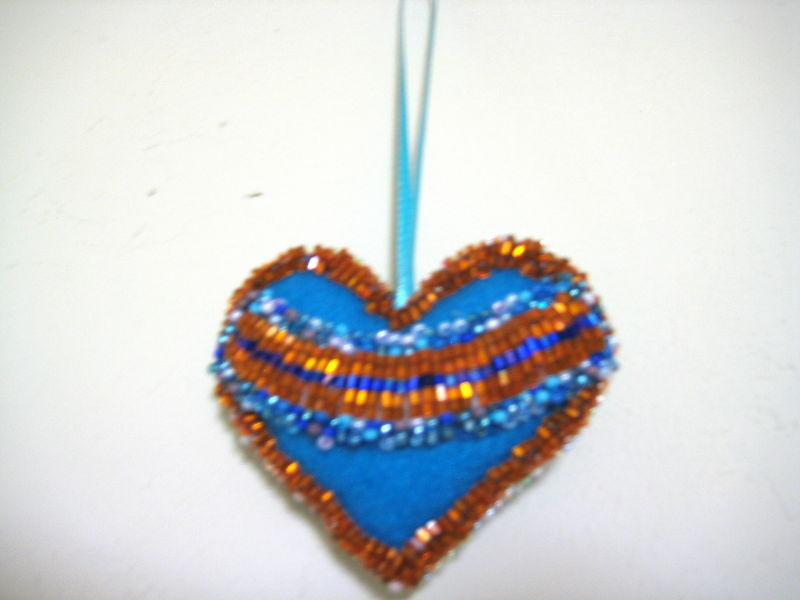 "Heart Decor Ornament Felt lot of beads both sides 3"" Set of 2  yellow blue Decor image 2"