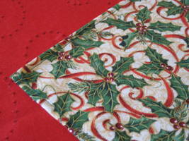 "Christmas Table Topper 31""x31"" cotton designer fabric red gold green colors image 1"