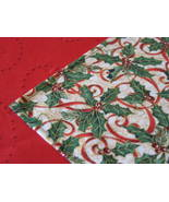 """Christmas Table Topper 31""""x31"""" cotton designer fabric red gold green colors - $12.95"""