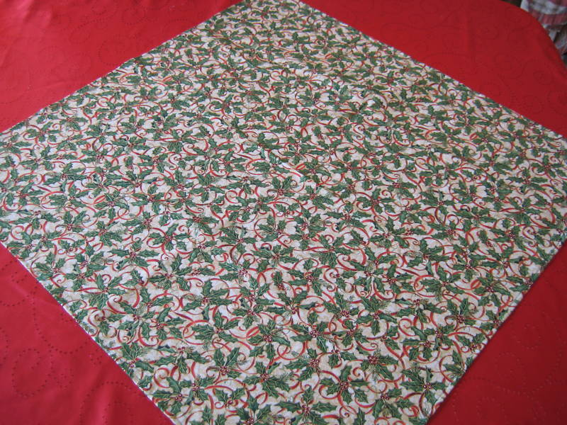 "Christmas Table Topper 31""x31"" cotton designer fabric red gold green colors image 2"