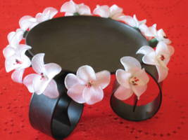 Vintage Floral Decor Candle holder Special Gift Idea - handmade nylon Flowers image 2