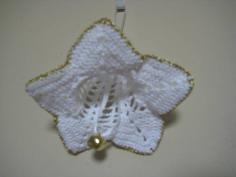 "Decor Flower Ornament 4""x3""  white with gold trim & bell Unusual Gift Idea"