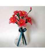 """Vintage Floral Decor Vase with flowers 4"""" x 6.5"""" Gift red handmade nylon... - $24.95"""