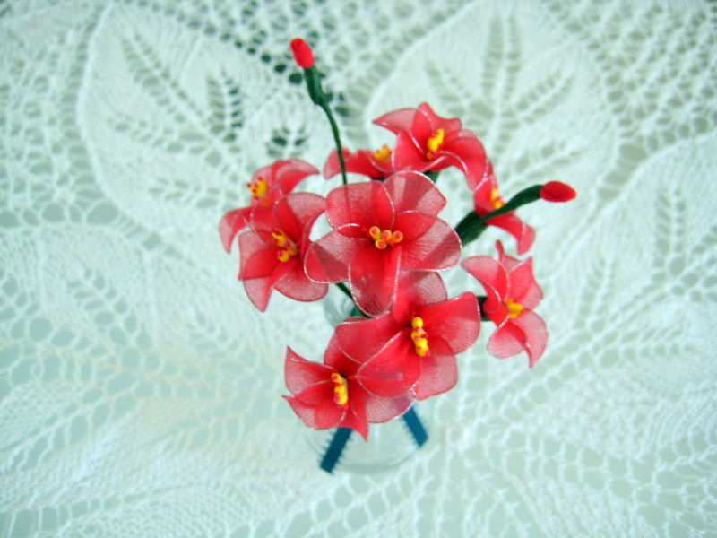 """Vintage Floral Decor Vase with flowers 4"""" x 6.5"""" Gift red handmade nylon Flowers image 4"""