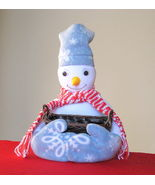Snowman w/ Nut basket fleece stuffed unique Gift or Deco Idea  - $39.95