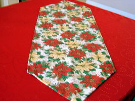 "Christmas Table Runner 42""x14"" Designer fabric red green gold colors  image 2"