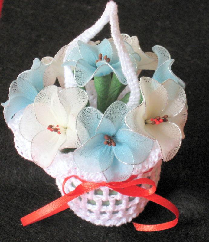 "Vintage Floral Decor crochet basket with flowers 3.5""x3.5"" - nylon- blue & white"