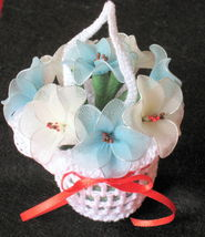 "Vintage Floral Decor crochet basket with flowers 3.5""x3.5"" - nylon- blue & white image 1"