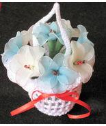 "Vintage Floral Decor crochet basket with flowers 3.5""x3.5"" - nylon- blue... - $19.95"