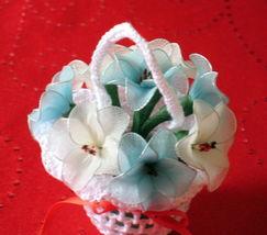 "Vintage Floral Decor crochet basket with flowers 3.5""x3.5"" - nylon- blue & white image 2"