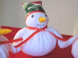 "Snowman Trio fleece  fabric stuffed 16""x6.5""  image 3"