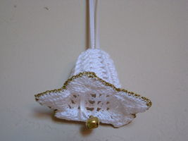 "Decor Flower Ornament 2""x3"" white w/ gold trim bell and white ribbon Gift Idea image 1"