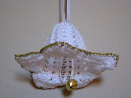 "Decor Flower Ornament 2""x3"" white w/ gold trim bell and white ribbon Gift Idea image 2"