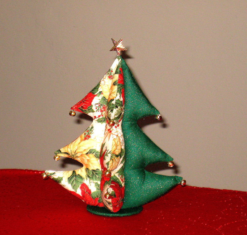 """Christmas Tree stuffed bells star top Unique Gift 8""""x11"""" from handmade pattern"""