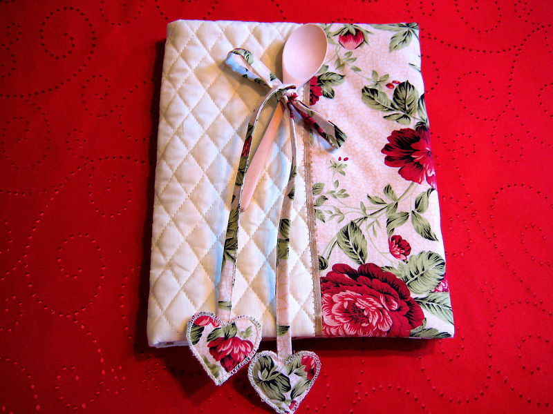"""Vintage Cook Book Cover 11""""x18"""" uncommon Gift Idea Floral design handmade"""