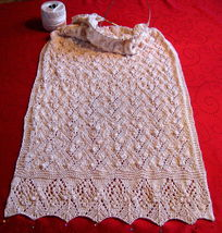 "Vintage Design Shawl 20""x60 elegant Style knitted beige Great for Church  image 1"