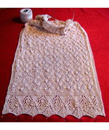 "Vintage Design Shawl 20""x60 elegant Style knitted beige Great for Church  - $129.00"