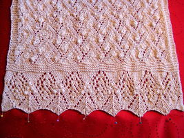 "Vintage Design Shawl 20""x60 elegant Style knitted beige Great for Church  image 2"