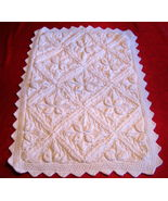 "Vintage Design Baby Cover Stylish Boy Girl 20""x29"" white knitted - $59.00"