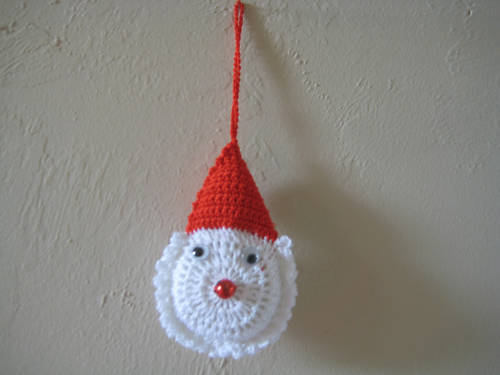 """Santas Face crochet 2.5""""x4"""" stuffed ornament Set of 5 - double sides decorated"""