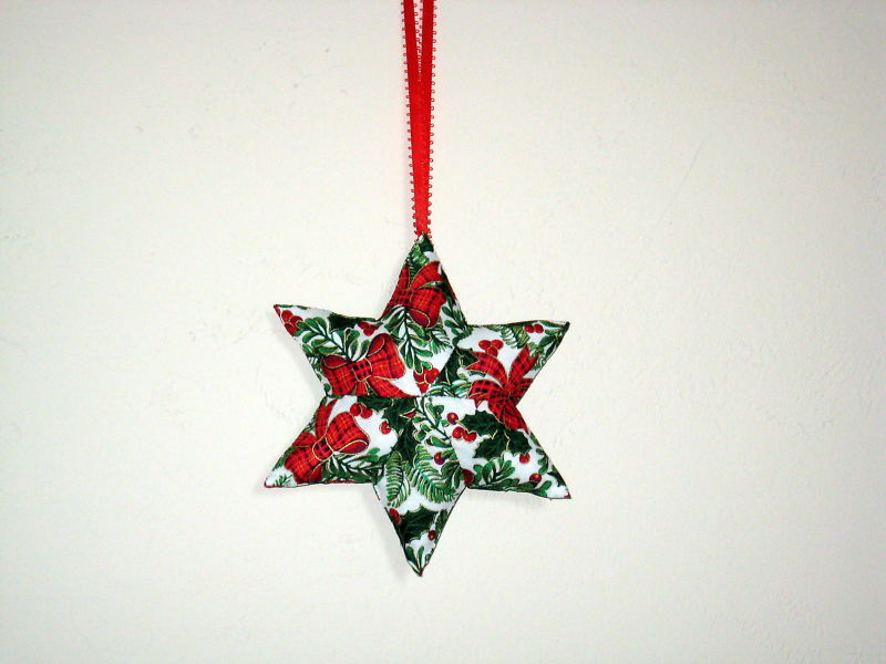 QChristmas Star  Designer fabric stuffed Set of 3 Ornaments