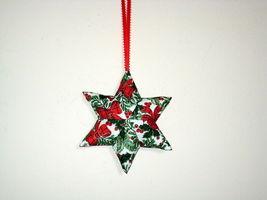 QChristmas Star  Designer fabric stuffed Set of 3 Ornaments image 1