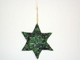 QChristmas Star  Designer fabric stuffed Set of 3 Ornaments image 2