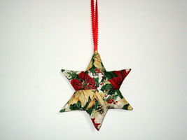 QChristmas Star  Designer fabric stuffed Set of 3 Ornaments image 3