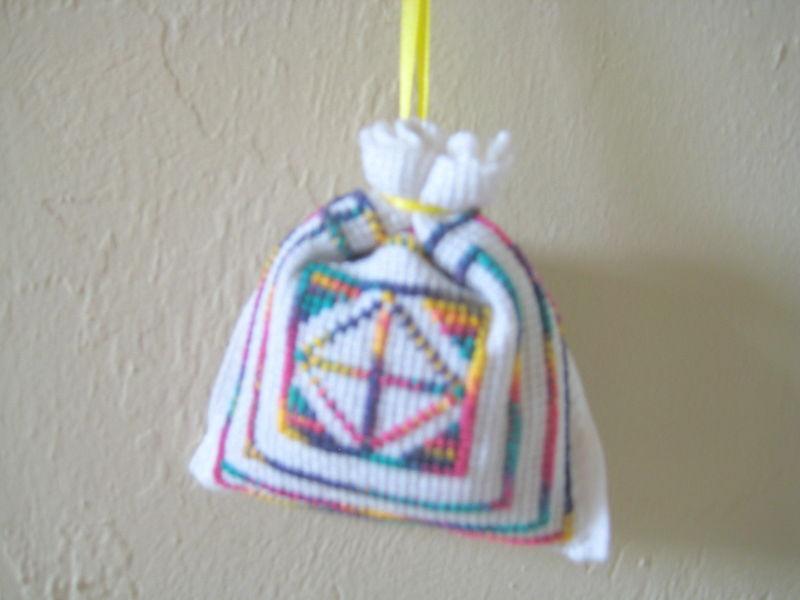 "Satchel Lavender Sack 3""x3"" needlepoint Set of 4 Unique Gift Idea or Deco"