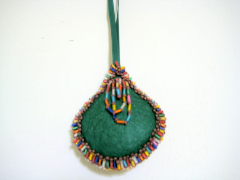 "Christmas Drop ornament 2.5""x3"" Felt - stuffed - lots of rainow beads both sides"