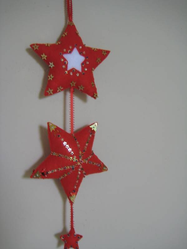 """Star Trio Ornament Felt stuffed beads two sided 17"""" red white gold colors"""
