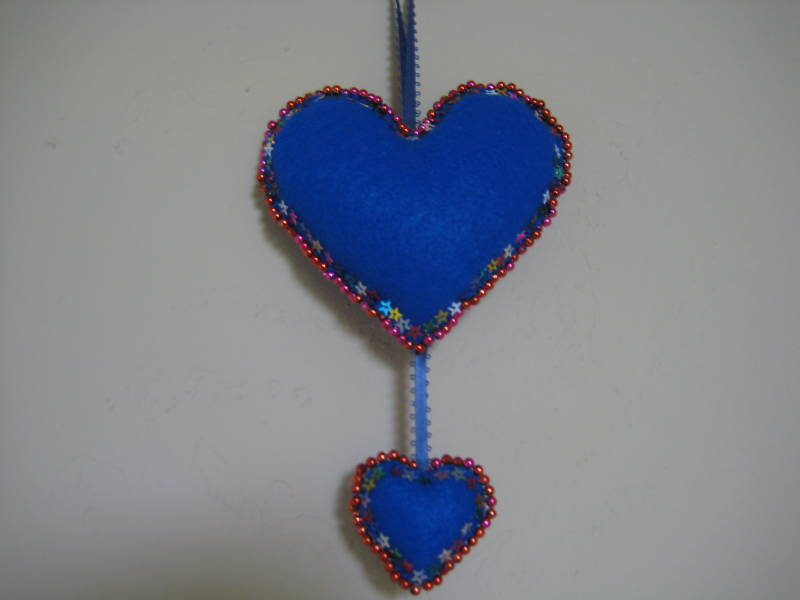 """Heart Double Ornament Felt stuffed beads two sided 7.5"""" blue colorfull beads"""