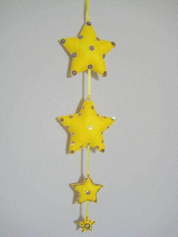 "Star Quadro Ornament Felt stuffed beads two sided 24"" yellow rainbow gold colors"