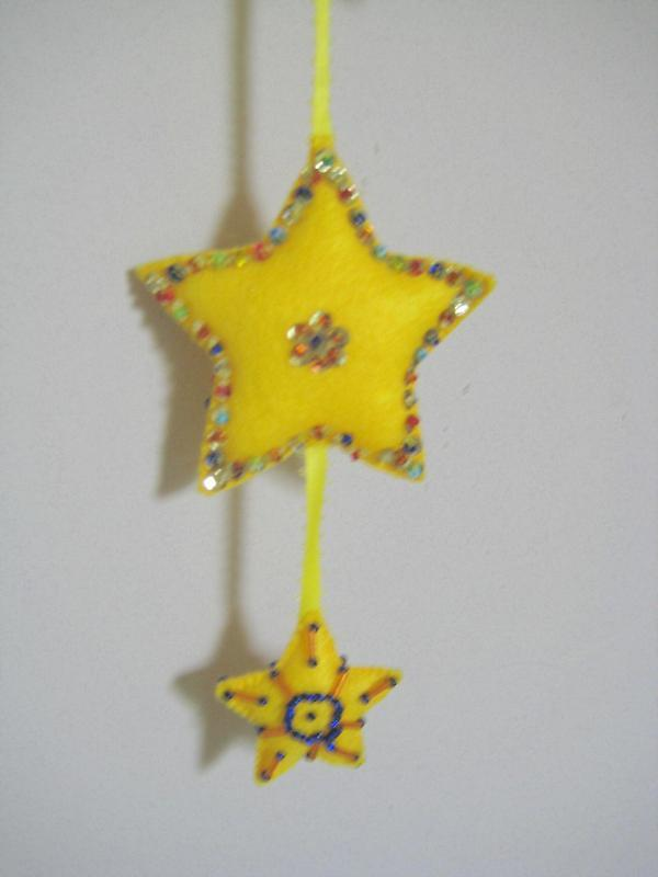 "Star Quadro Ornament Felt stuffed beads two sided 24"" yellow rainbow gold colors image 2"