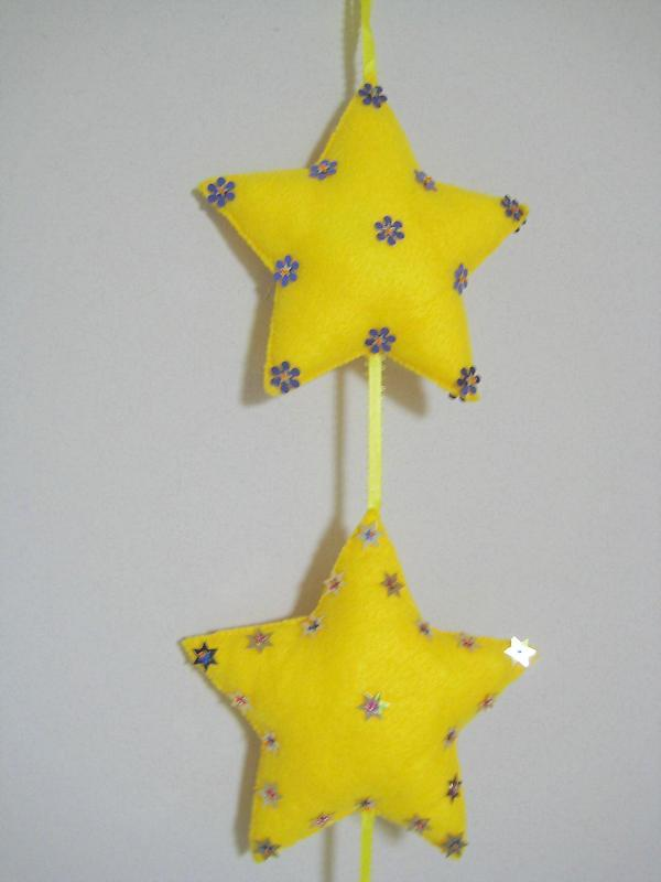 "Star Quadro Ornament Felt stuffed beads two sided 24"" yellow rainbow gold colors image 3"